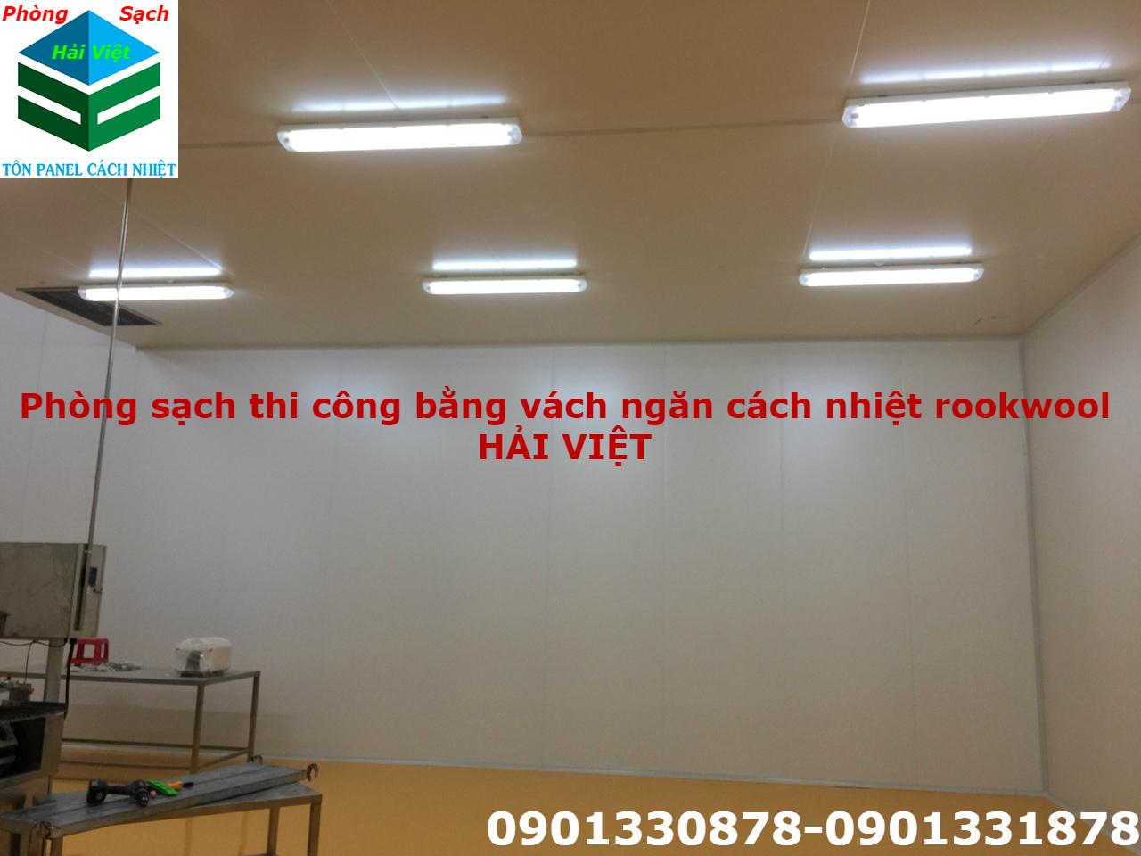 phòng sạch thi công bằng vách ngăn cách nhiệt panel rookwool